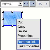 "Online Editor: choosing the ""Remove link"" item from the context menu."