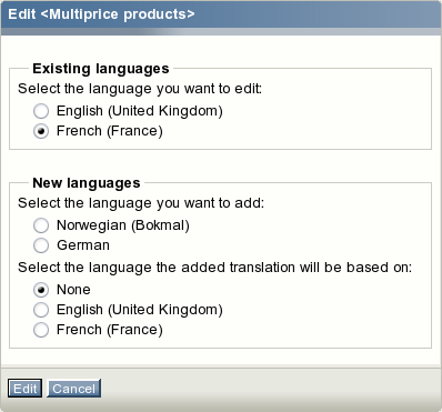 The language selection interface.