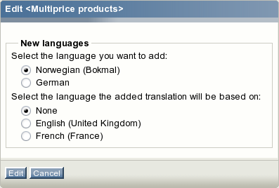 The reduced language selection interface.