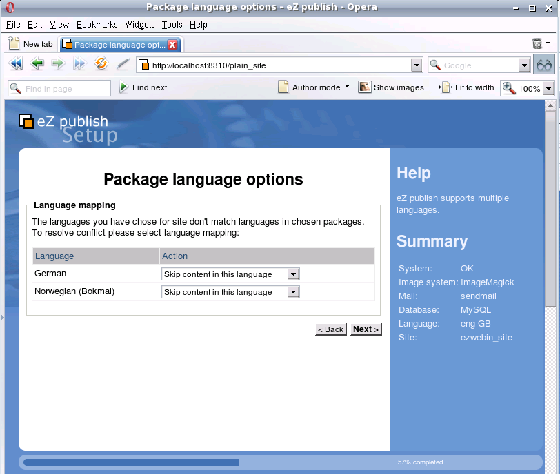Package language options