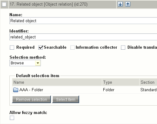"Class attribute edit interface for the ""Object relation"" datatype."