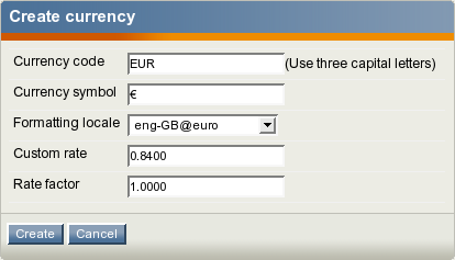 The currency edit interface.