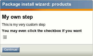Displaying a custom wizard step during the package installation process