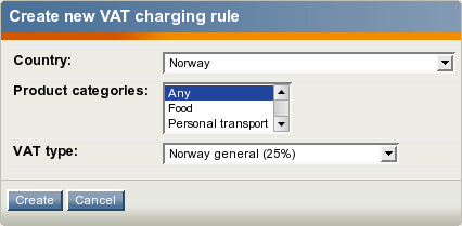 The VAT charging rule edit interface.
