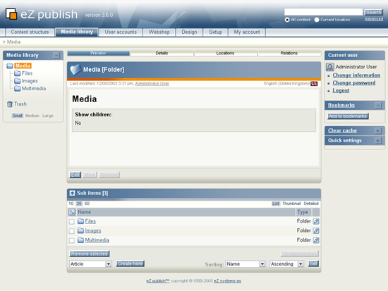 "The ""Media library"" tab."