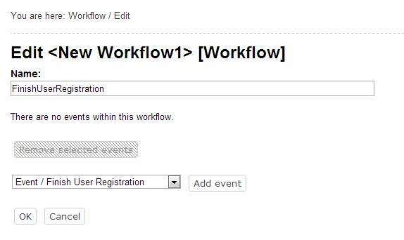 Creating Workflow Finish User Registration