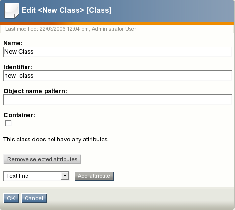 The class edit interface for a product class.
