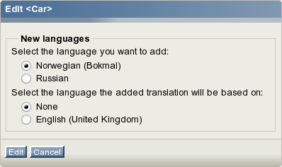 The language selection interface for class attribute names.